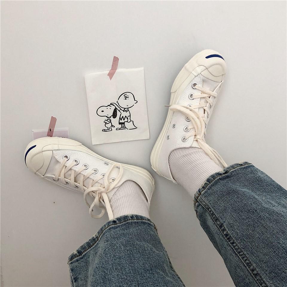 开口笑帆布鞋 2019小白鞋ins开口笑原宿百搭帆布鞋女_推荐淘宝好看的女开口笑帆布鞋