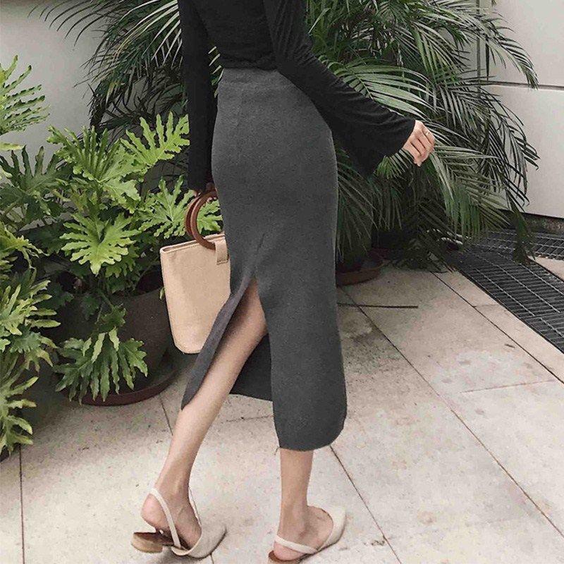 半身裙 秋季新款女装高腰弹力显瘦开叉针织包臀裙韩版中长款纯色半身裙潮_推荐淘宝好看的半身裙