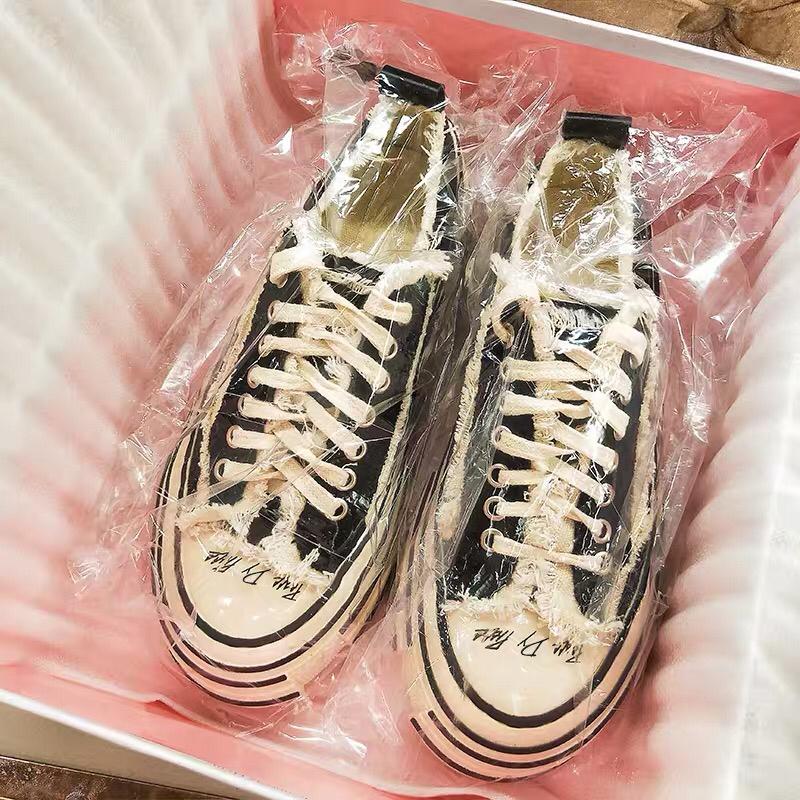 粉红色松糕鞋 超火的做旧休闲厚底松糕帆布鞋韩版网红透气街拍板鞋粉红色女潮鞋_推荐淘宝好看的粉红色松糕鞋