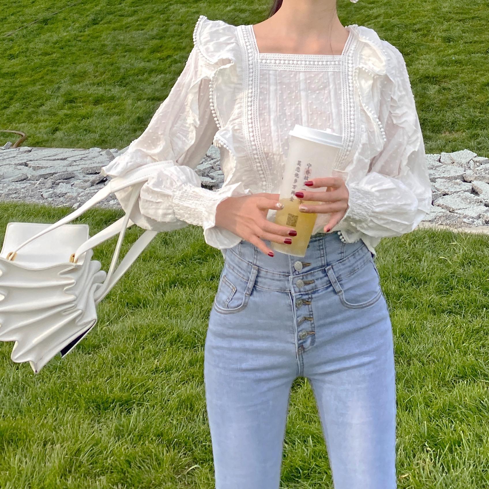 波点衬衫 RIKIHOYI原创设计 方领田园复古精致名媛显瘦白色立体波点衬衫女_推荐淘宝好看的女波点衬衫