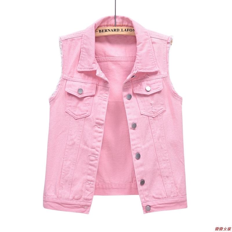 粉红色马甲 多色牛仔马甲女短款春夏修身显瘦粉红色毛边无袖坎肩破洞马夹上衣_推荐淘宝好看的粉红色马甲