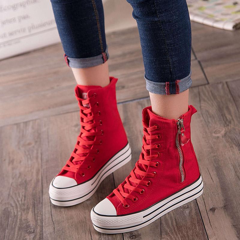 红色高帮鞋 春秋款高帮拉链帆布鞋女大红色厚底松糕布单鞋高筒布靴舞蹈小白鞋_推荐淘宝好看的红色高帮鞋
