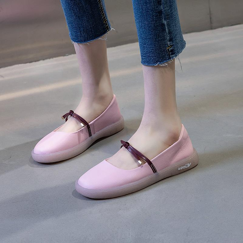 粉红色豆豆鞋 潮牌真皮平底小白鞋女粉红色2020夏季薄百搭豆豆鞋一脚蹬软底单鞋_推荐淘宝好看的粉红色豆豆鞋