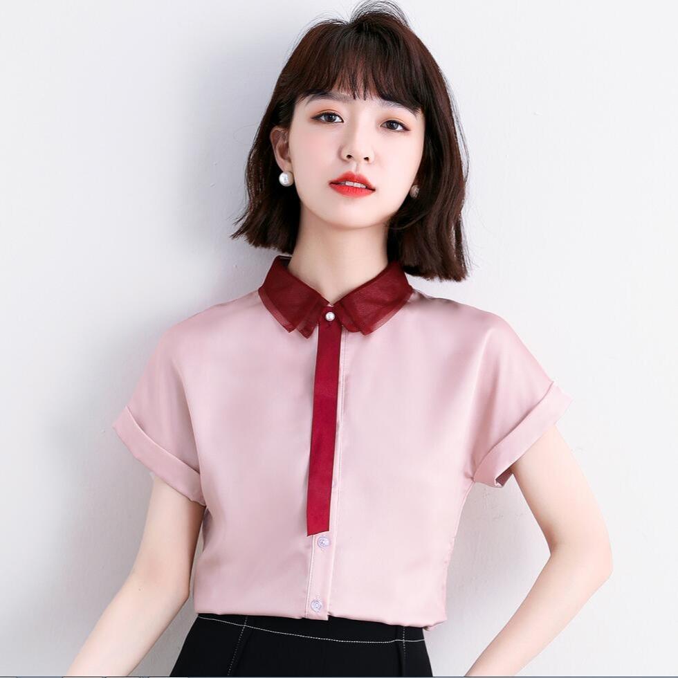 粉红色雪纺衫 粉红色衬衫女短袖夏季新款收腰设计感气质休闲百搭职业雪纺衬衣女_推荐淘宝好看的粉红色雪纺衫