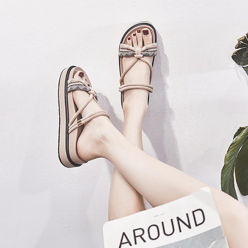 女士罗马鞋 韩版2020夏季新款厚底一鞋两穿罗马凉鞋女网红仙女风平底学生百搭_推荐淘宝好看的女罗马鞋