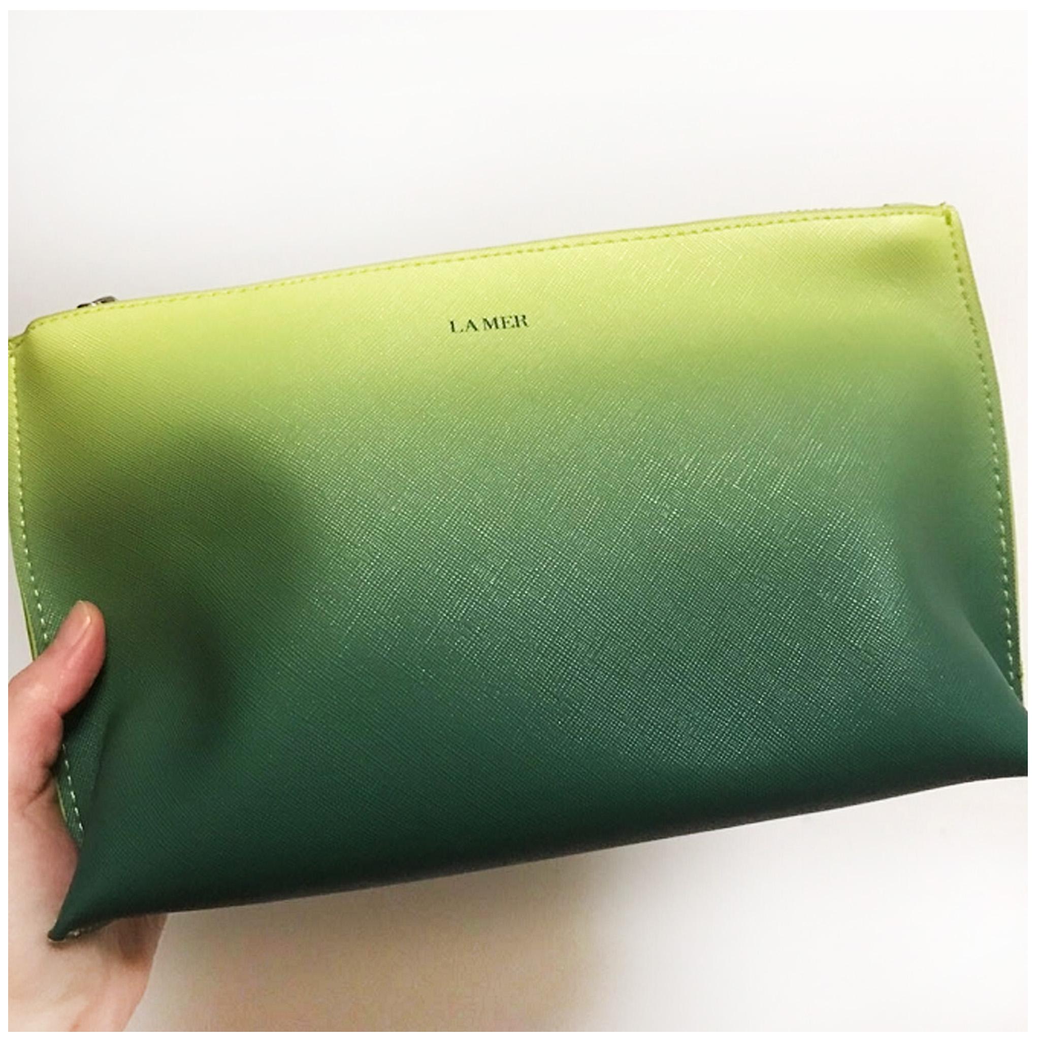 绿色贝壳包 海蓝之谜LAMER蓝色贝壳十字纹化妆包 绿色渐变 手拿化妆包 大号_推荐淘宝好看的绿色贝壳包