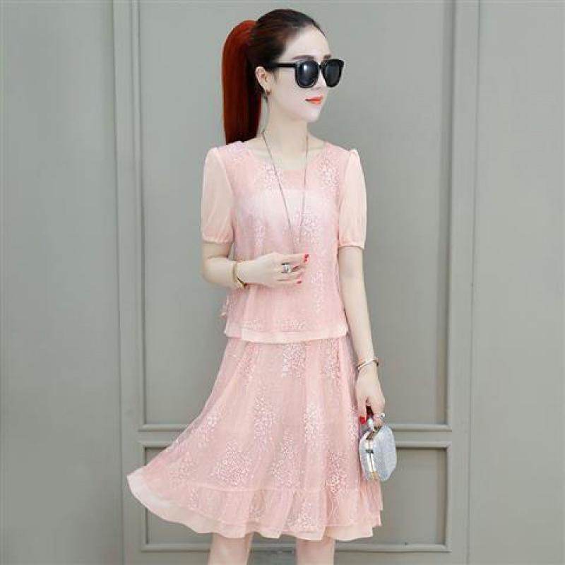 蕾丝连衣裙新款 F4【两件套】雪纺套装2020年新款夏季显瘦连衣裙百搭两件套蕾丝裙_推荐淘宝好看的蕾丝连衣裙新款