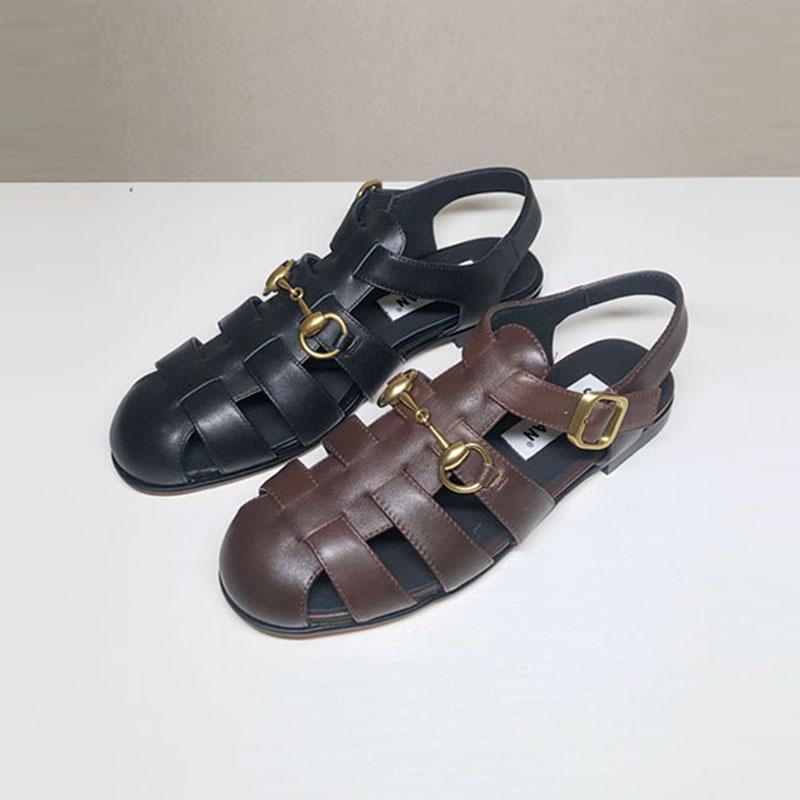 真皮罗马鞋 包头凉鞋女夏外穿2021新款真皮百搭复古一字扣带平底罗马鞋_推荐淘宝好看的真皮罗马鞋