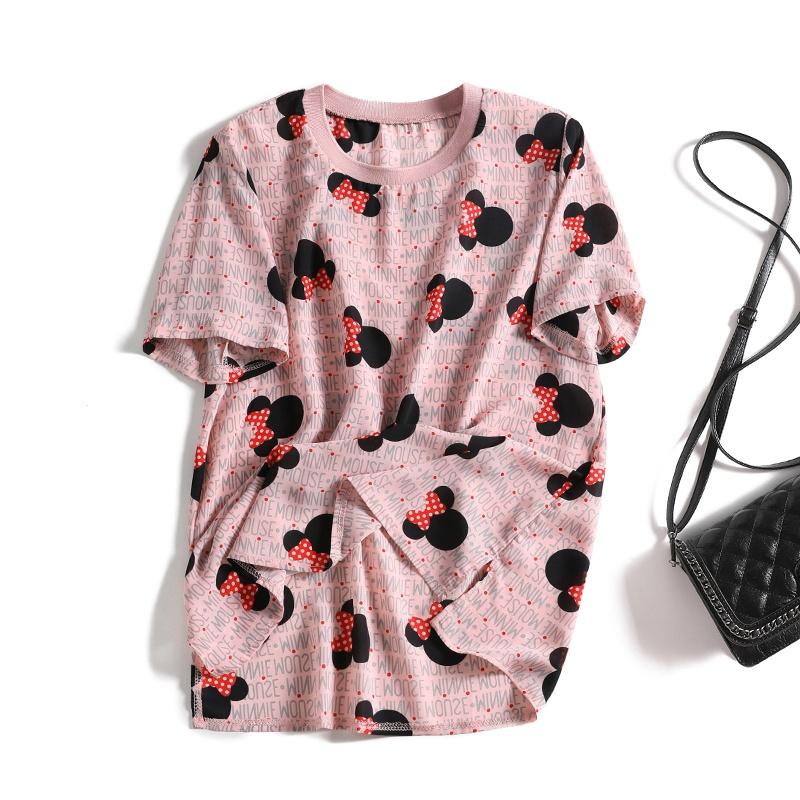 粉红色雪纺衫 婴儿般肌肤!清爽凉快 卡通粉红色雪纺衫减龄短袖小衫女上衣T恤夏_推荐淘宝好看的粉红色雪纺衫