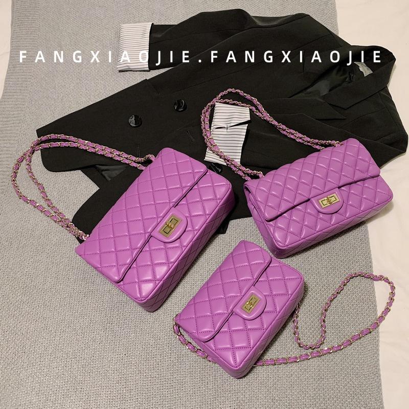 紫色链条包 方小姐紫色小香菱格包包女2020新款锁扣百搭腋下包单肩斜挎链条包_推荐淘宝好看的紫色链条包