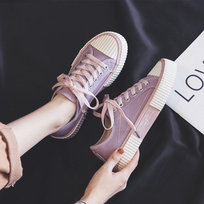 紫色平底鞋 印花学院风可爱平底鞋洋气布板鞋日系秋鞋女式女子涂鸦紫色帆布鞋_推荐淘宝好看的紫色平底鞋