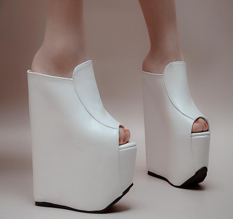 欧美松糕鞋 2021夏季欧美松糕厚底坡跟女拖鞋鱼嘴高跟凉拖鞋18cm一字拖17公分_推荐淘宝好看的女欧美松糕鞋