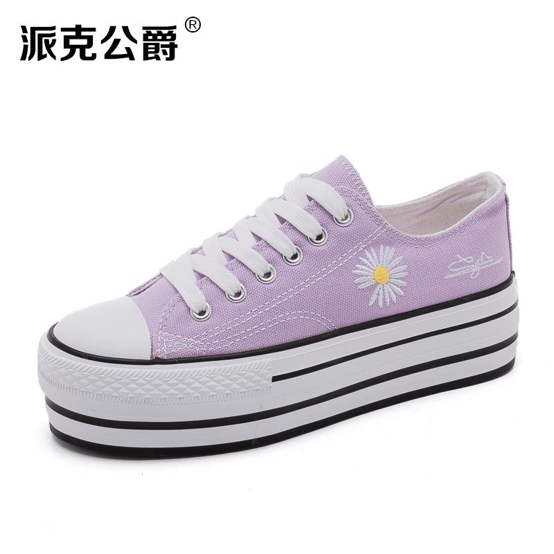 紫色松糕鞋 厚底松糕帆布鞋女2020新款夏季浅紫色透气低帮透气小雏菊板鞋。_推荐淘宝好看的紫色松糕鞋