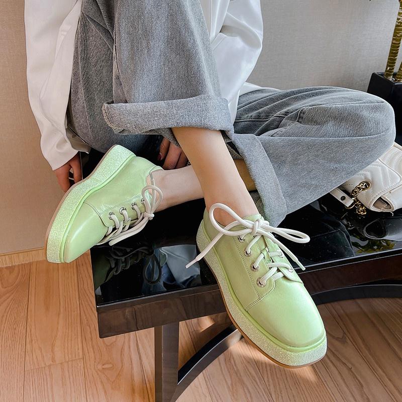 绿色松糕鞋 高档绿色单鞋女2021春季新款真皮松糕厚底女鞋亮片鞋时尚百搭休闲_推荐淘宝好看的绿色松糕鞋
