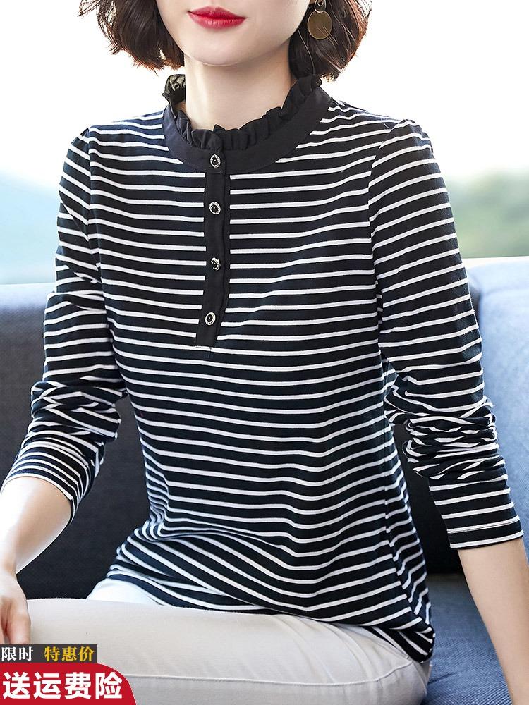 蓝白条纹t恤 黑白条纹长袖T恤女纯棉2021春夏新款打底衫大码宽松时尚蓝白上衣_推荐淘宝好看的女蓝白条纹t恤