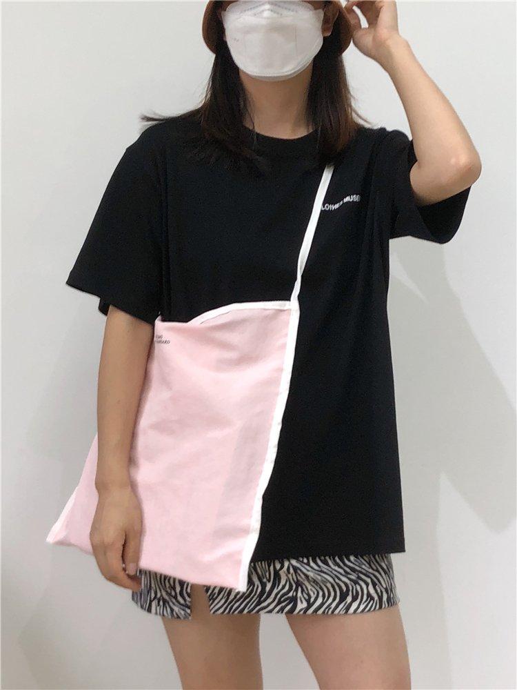 粉红色帆布包 现货包邮新品chic韩国少女粉粉红色字母大容量单肩帆布包三色_推荐淘宝好看的粉红色帆布包