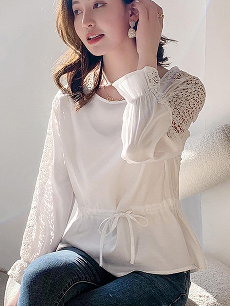 女士白色短袖衬衫 白色衬衫女2021夏短袖韩版宽松遮肚镂空气质小衫抽绳收腰雪纺上衣_推荐淘宝好看的女白色短袖衬衫