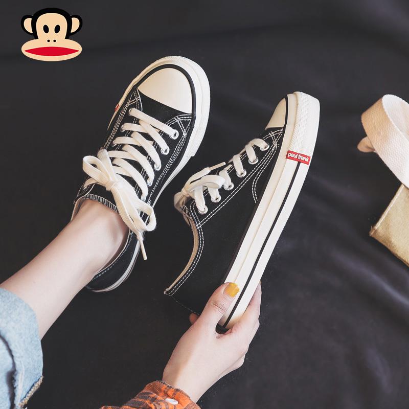 大嘴猴帆布鞋 大嘴猴低帮帆布鞋女2021年新款夏季薄款球鞋春夏款布鞋板鞋小黑鞋_推荐淘宝好看的大嘴猴帆布鞋