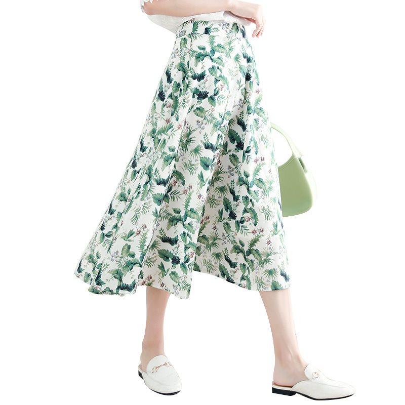绿色雪纺半身裙搭配 法式清新淡雅绿色碎花半身裙女夏季设计感小众雪纺高腰aM字中长裙_推荐淘宝好看的绿色雪纺半身裙