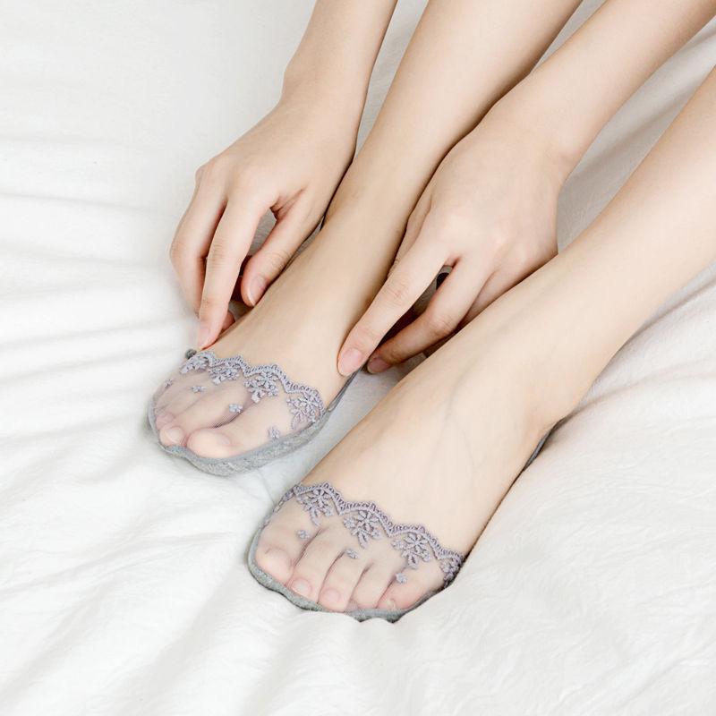 丝袜高跟鞋 隐形袜子女高跟鞋半掌浅口蕾丝吊带不掉跟船袜夏季薄款棉质女袜子_推荐淘宝好看的女袜高跟鞋