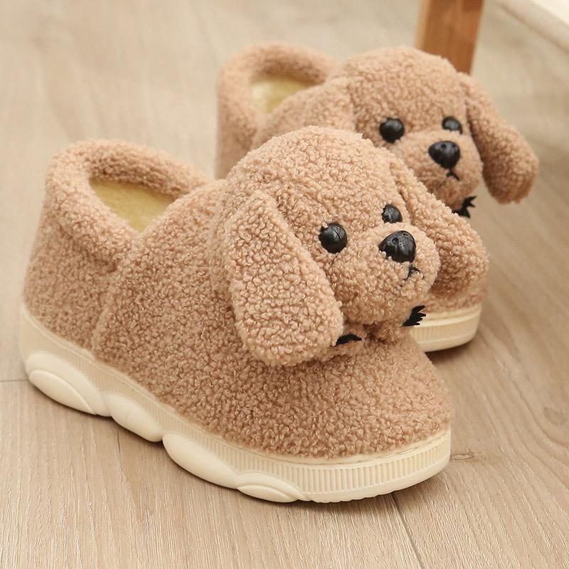 粉红色厚底鞋 寻新款卡其色粉红色主人可爱小狗卡通女生包跟棉拖鞋冬季保暖厚底_推荐淘宝好看的粉红色厚底鞋