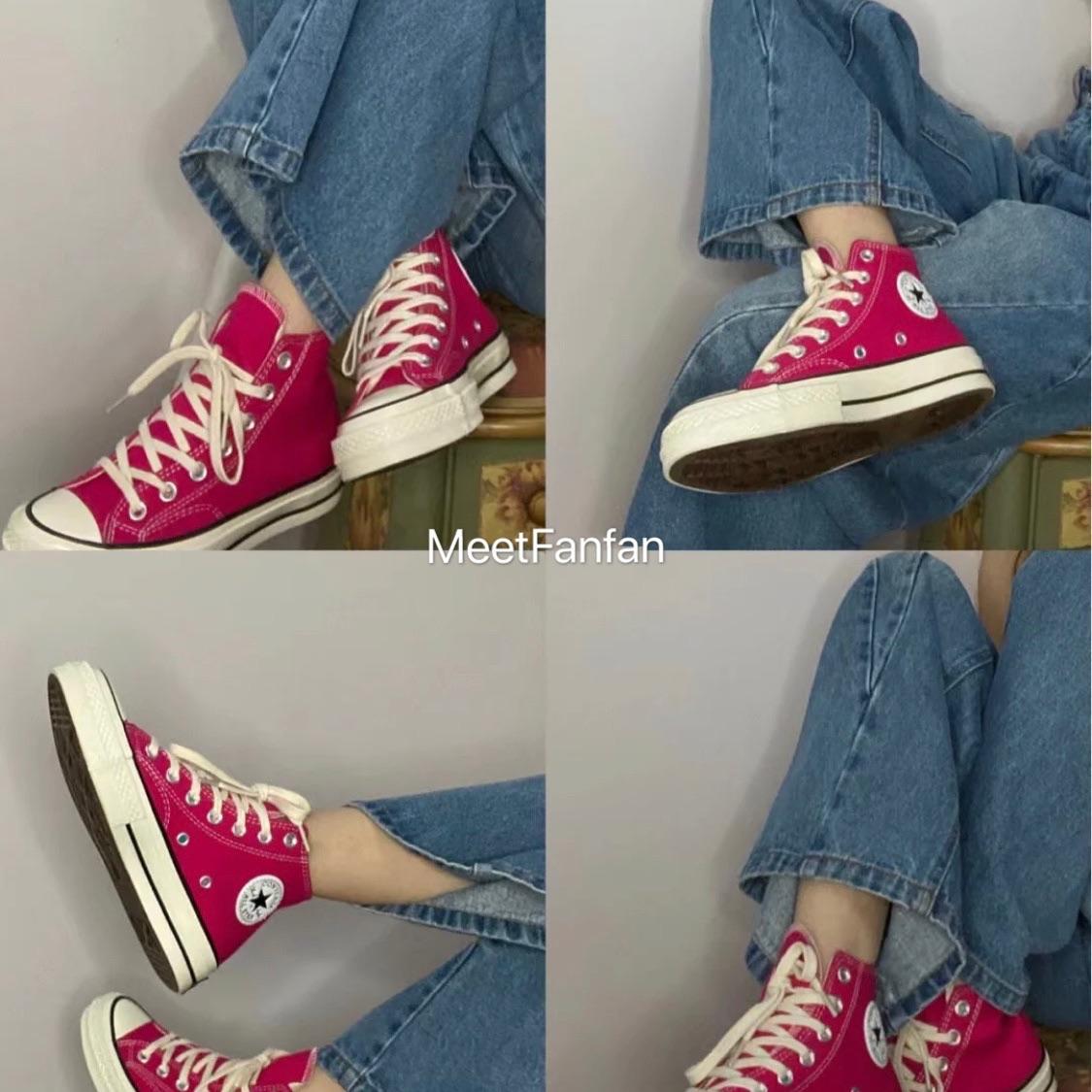 粉红色高帮鞋 2021春玫粉红色梅子色学生帆布鞋高帮提亮原宿星复古ulzang板鞋_推荐淘宝好看的粉红色高帮鞋