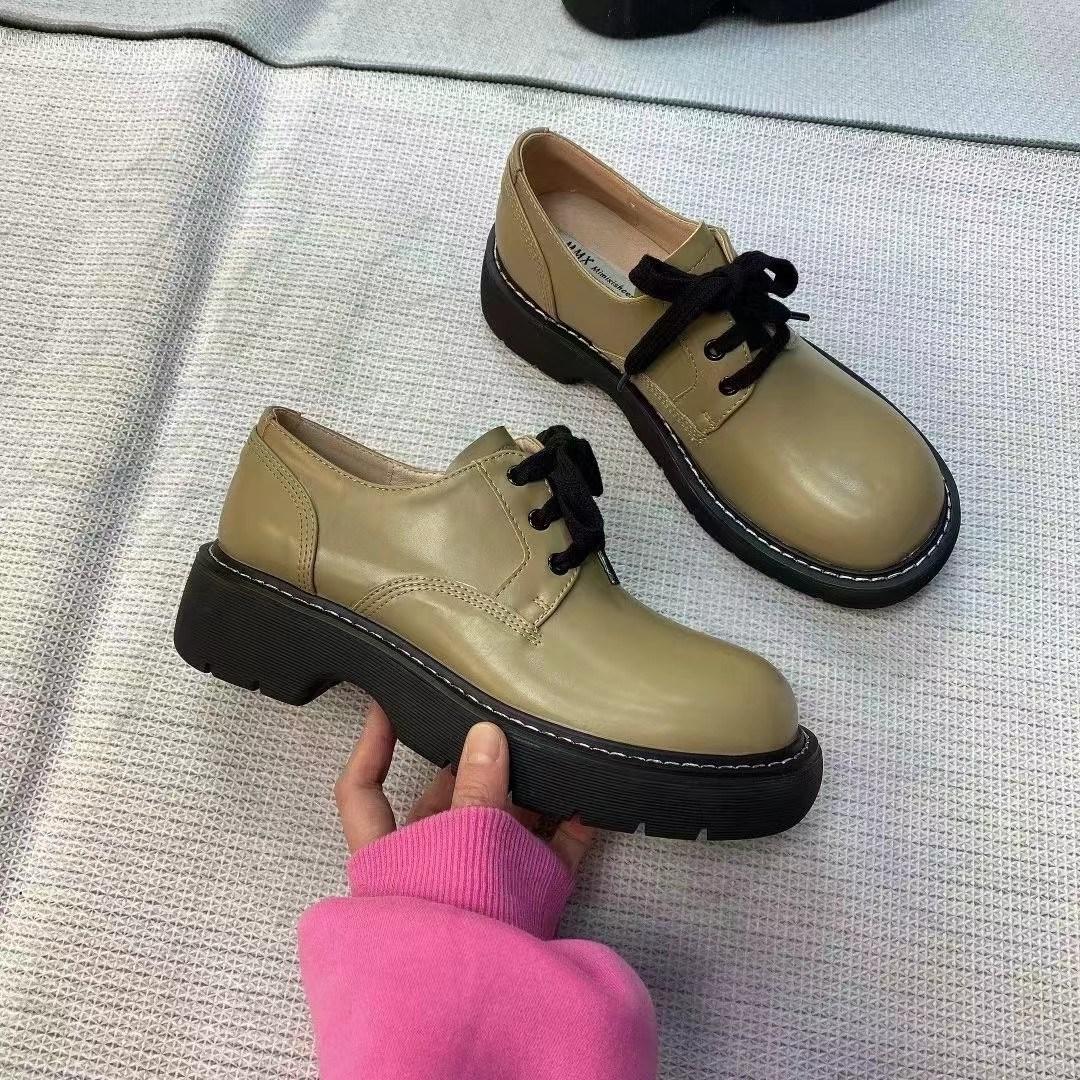 绿色松糕鞋 2021新款早春厚底增高圆头系带果绿色英伦风小皮鞋女松糕大头鞋_推荐淘宝好看的绿色松糕鞋