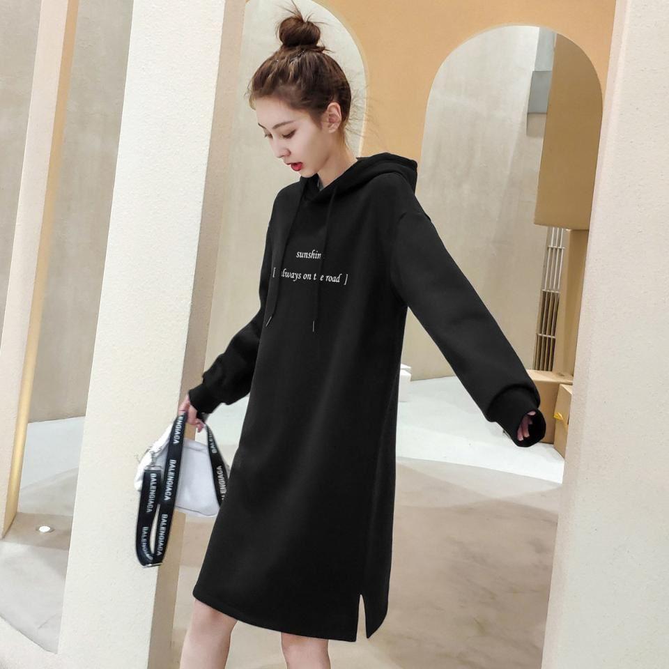 以纯连衣裙 2020新款连衣裙冬季长款女以纯色为主加绒加厚大方卫衣裙子_推荐淘宝好看的以纯连衣裙