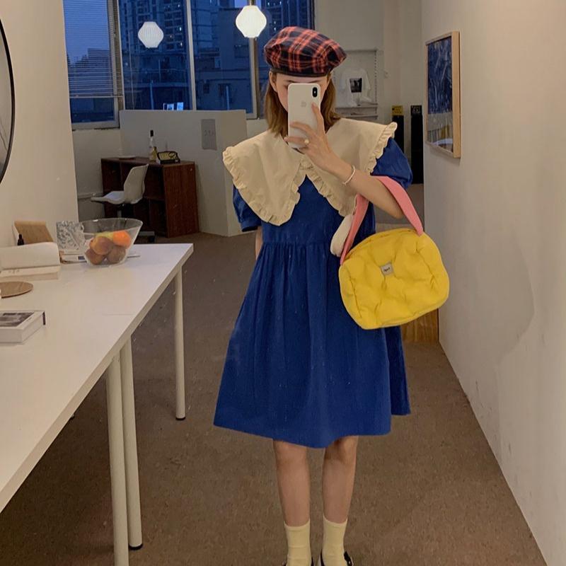 娃娃领短袖连衣裙 夏季2021新款显瘦温柔风小个子公主裙子娃娃领短袖法式连衣裙仙女_推荐淘宝好看的娃娃领短袖连衣裙