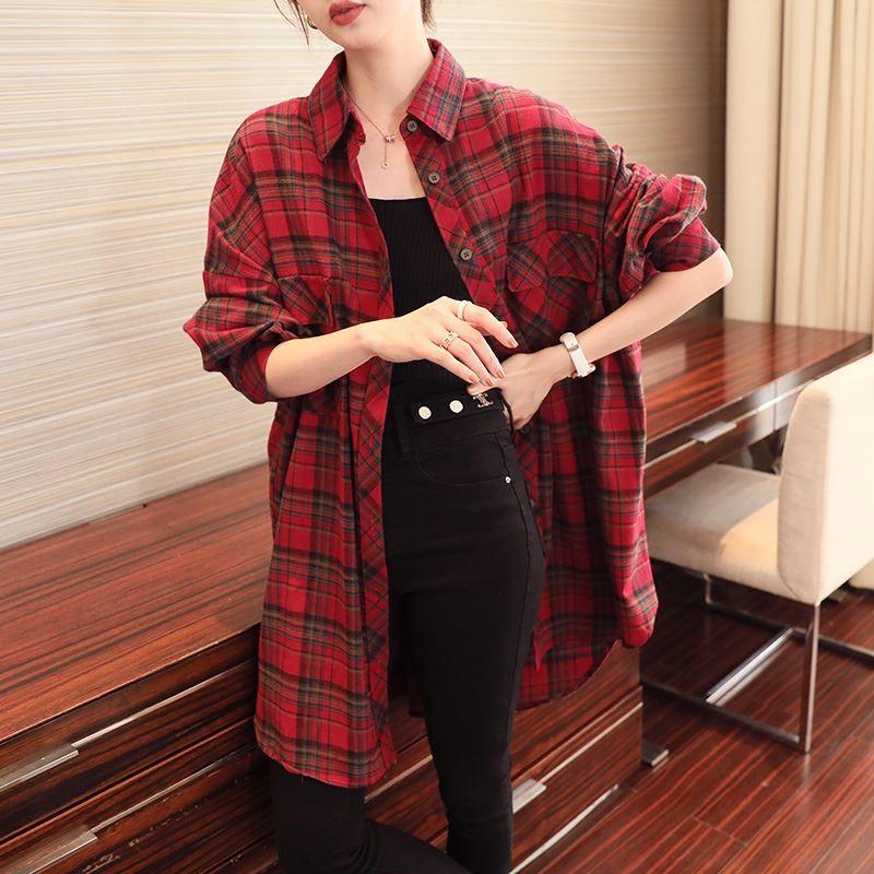 红色格子衬衫 春装2021红色格子衬衫女新款外穿中长款长袖复古港味打底衬衣秋冬_推荐淘宝好看的女红色格子衬衫