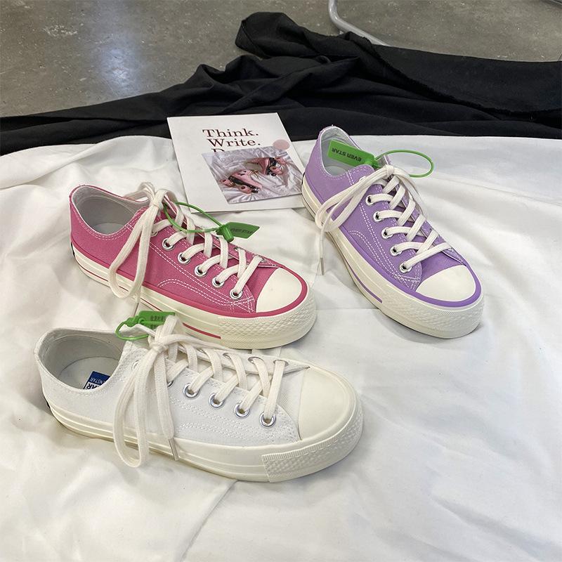 紫色松糕鞋 浅紫色厚底增高松糕跟1970s帆布鞋女韩版ulzzang港味复古学生板鞋_推荐淘宝好看的紫色松糕鞋