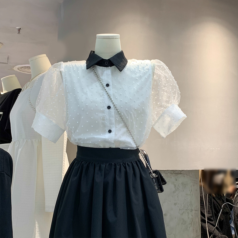 女士白色短袖衬衫 2021春夏季时尚百搭翻领白色波点网纱拼接宽松衬衫泡泡短袖上衣女_推荐淘宝好看的女白色短袖衬衫