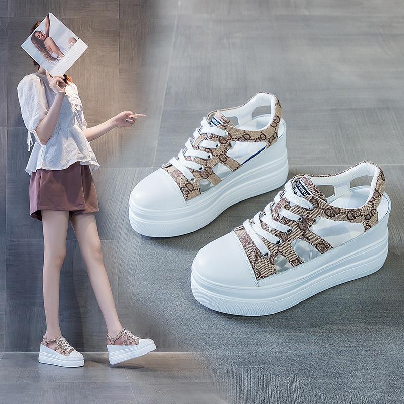 韩版豹纹坡跟鞋 内增高豹纹凉鞋女2021松糕厚底高跟鞋字母坡跟凉鞋女韩版镂空女鞋_推荐淘宝好看的女韩版豹纹坡跟鞋
