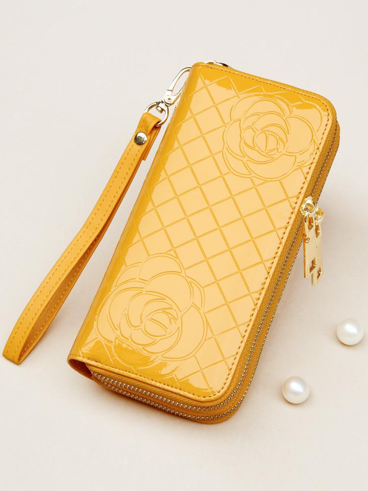 黄色手拿包 招财黄色钱包拉链钱夹子女士手拿包大容量手包真皮皮夹潮可放手机_推荐淘宝好看的黄色手拿包