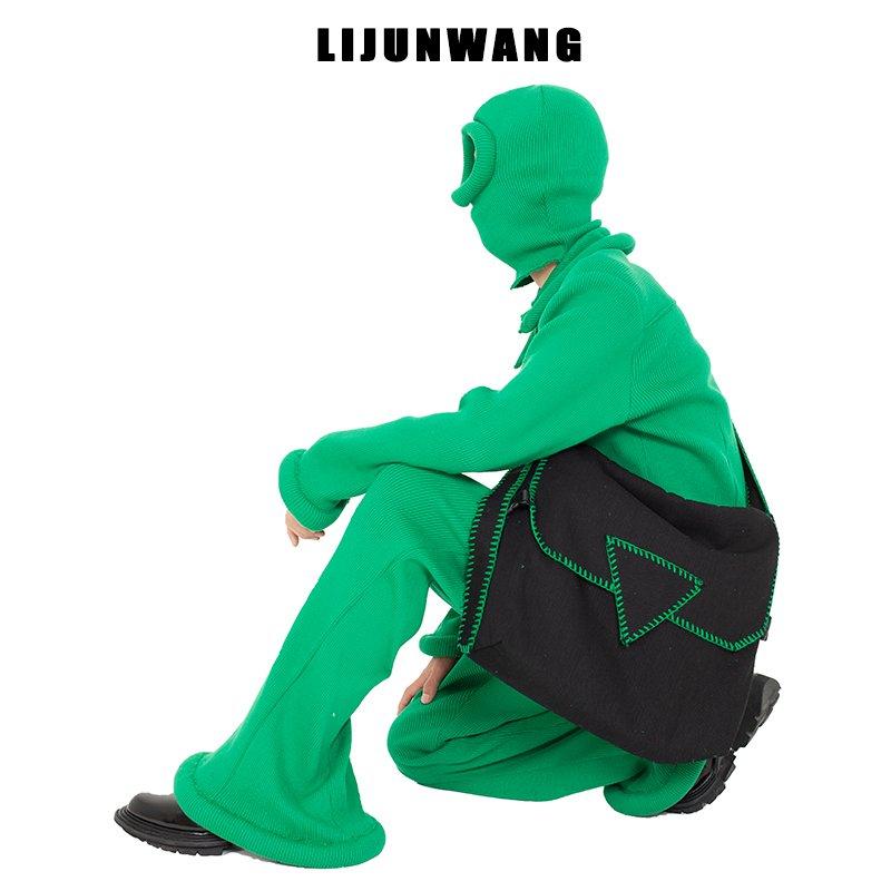 绿色邮差包 LIJUNWANG独立设计企鹅快跑绿色毛线锁边斜挎包邮差包大容量_推荐淘宝好看的绿色邮差包