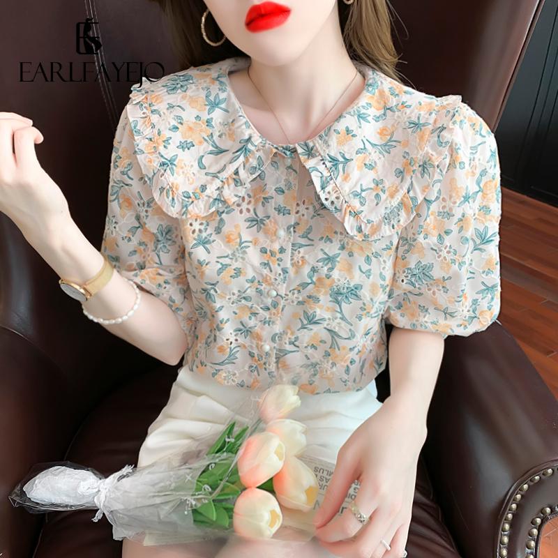 泡泡袖雪纺衫 泡泡袖碎花雪纺衬衫女装夏装2021年新款潮娃娃领短袖上衣甜美减龄_推荐淘宝好看的泡泡袖雪纺衫