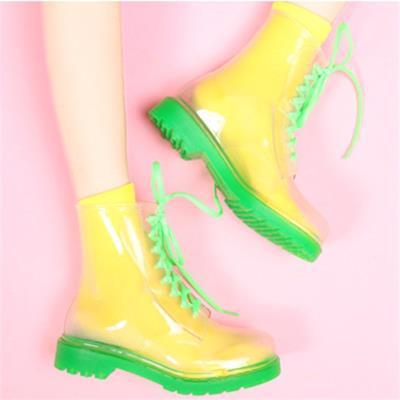 糖果色时尚平底鞋 透明雨鞋韩国水晶果冻鞋平底马丁雨靴时尚防水防滑女鞋糖果色水鞋_推荐淘宝好看的女糖果色时尚平底鞋