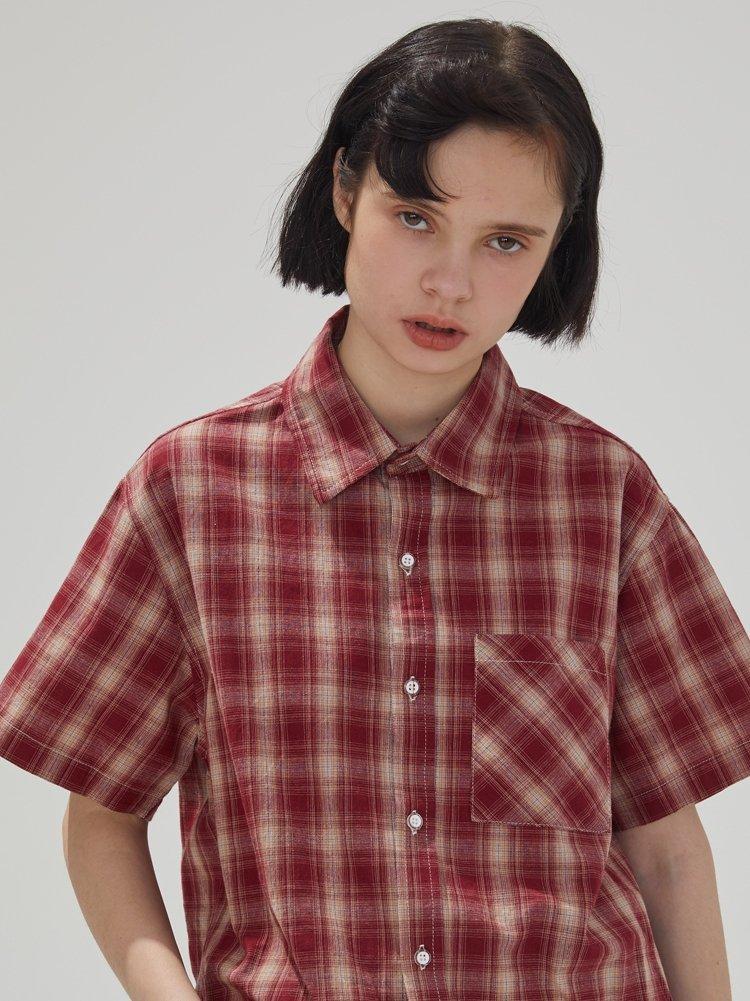 红格子衬衫 square houlest 原创设计纯棉短袖衬衣红色格子衬衫女宽松学院T恤_推荐淘宝好看的女红格子衬衫