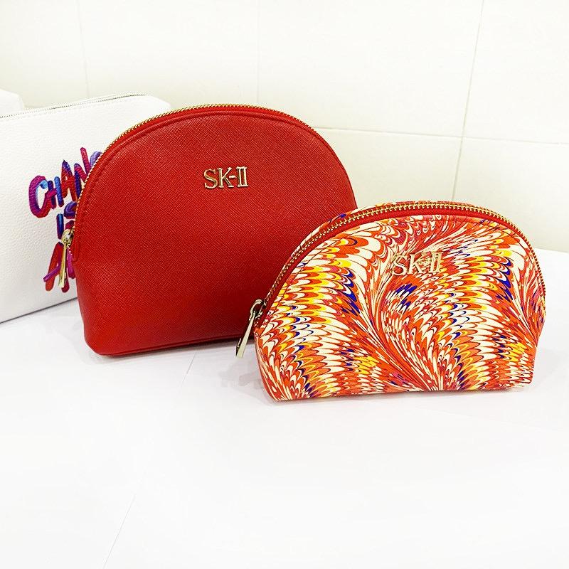 红色贝壳包 sk2收纳袋 绒布化妆包随身便捷小号包 收纳抽绳袋 贝壳包大红色_推荐淘宝好看的红色贝壳包