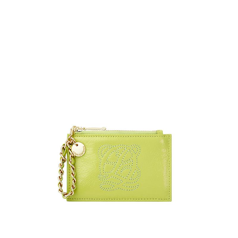 绿色钱包 LOUIS QUATORZE薄荷绿色2021新款牛皮钱包卡包金属装饰卡座_推荐淘宝好看的绿色钱包