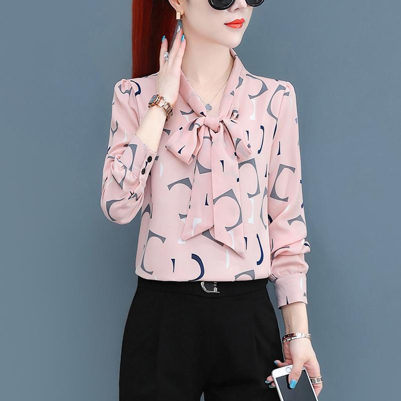 女士长袖雪纺衫 雪纺衬衫女2021年新款春装洋气时尚衬衣女士长袖上衣春款女式小衫_推荐淘宝好看的女士长袖雪纺衫