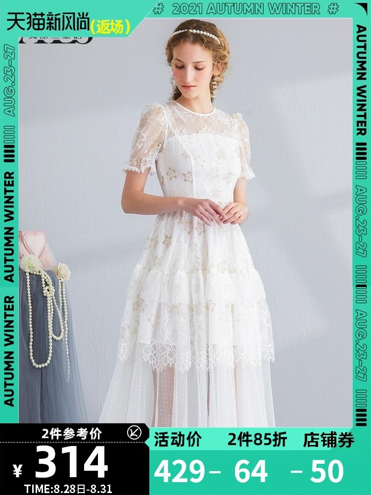 白色蕾丝连衣裙 艾丽丝2021夏装新款白色蕾丝网纱刺绣连衣裙女甜美公主超仙蛋糕裙_推荐淘宝好看的白色蕾丝连衣裙