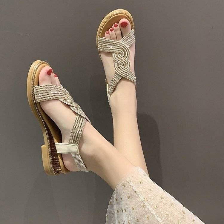 水钻罗马鞋 琦梦百货2021年夏季新款女士水钻潮流凉鞋时尚百搭罗马坡跟女鞋子_推荐淘宝好看的水钻罗马鞋