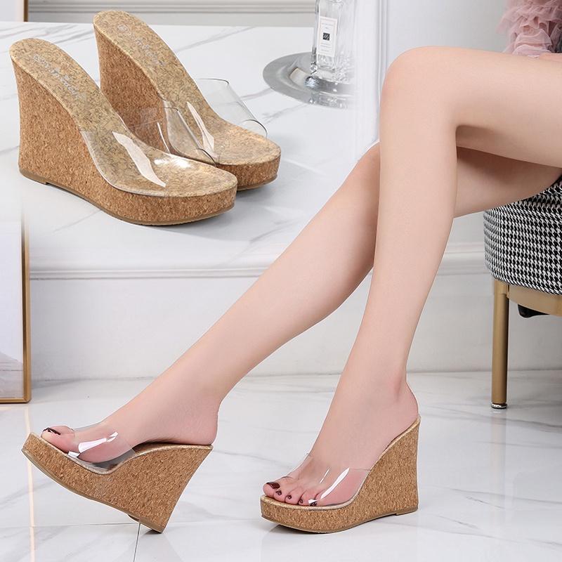 防水豹纹坡跟鞋 2021夏季新款木纹坡跟高跟防水台女鞋性感豹纹透明水晶玻璃凉拖鞋_推荐淘宝好看的女防水豹纹坡跟鞋