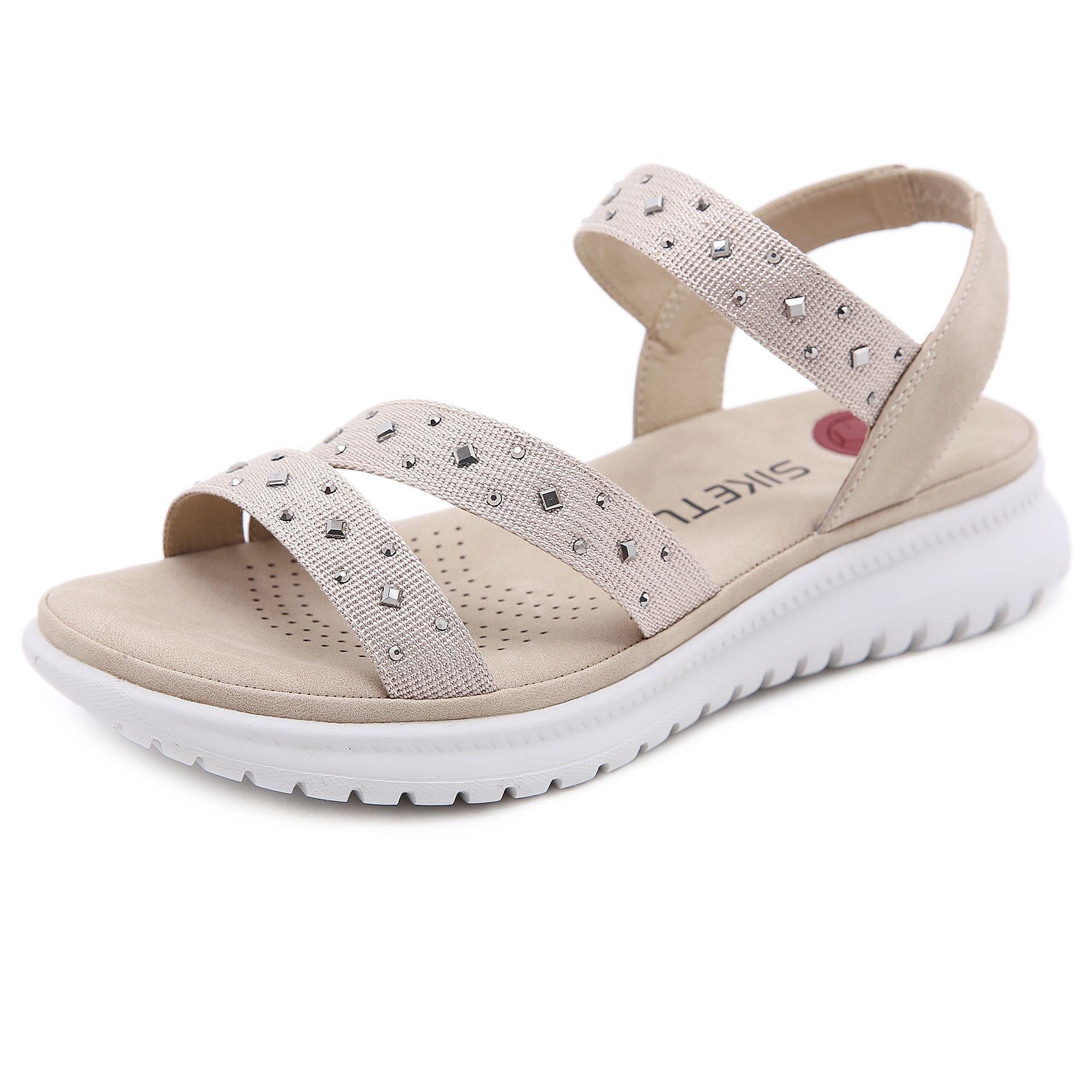平跟罗马凉鞋 2021年新款夏季百搭水钻ins潮时尚平跟学生罗马运动风凉鞋女轻盈_推荐淘宝好看的女平跟罗马凉鞋