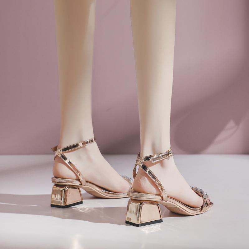 水钻罗马鞋 潮牌凉鞋女2021新款夏季仙女风粗跟一字扣带高跟鞋网红水钻罗马鞋_推荐淘宝好看的水钻罗马鞋