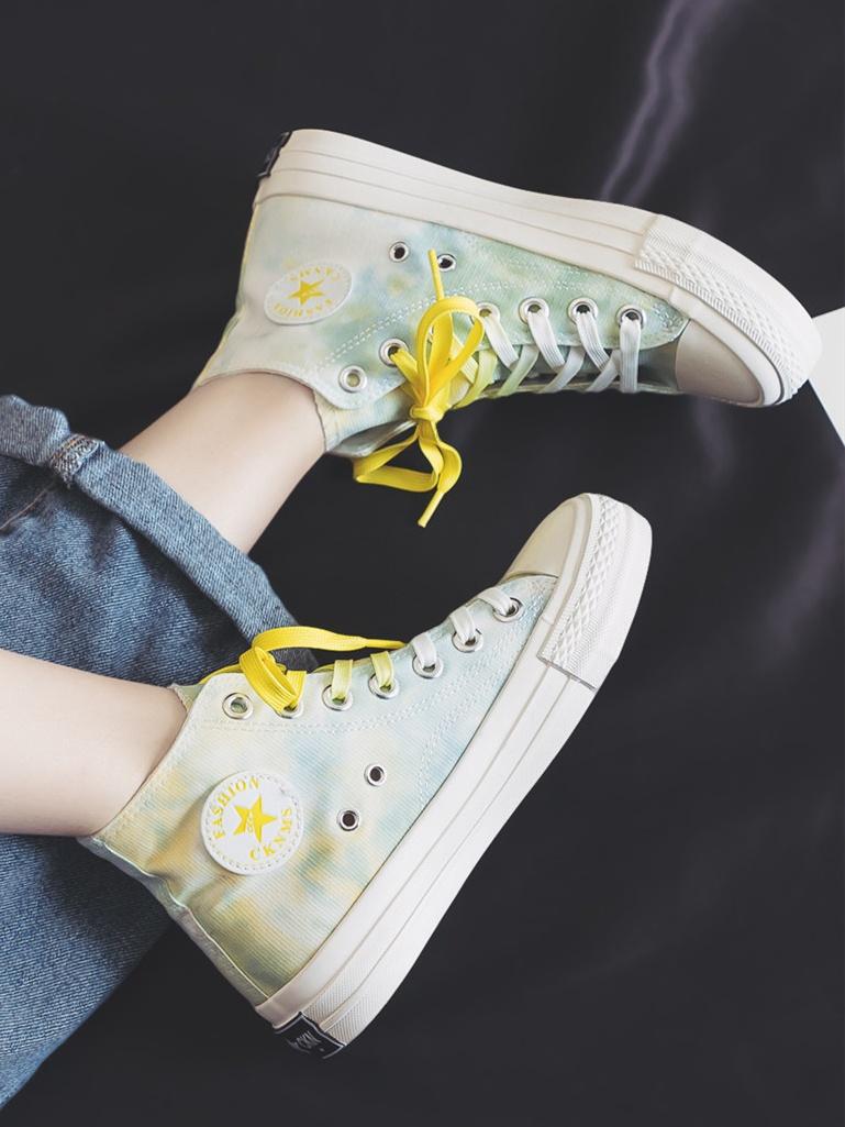 粉红色帆布鞋 春季新款高腰炫彩晕染帆布鞋女韩版学生粉红色平底系带跑步板鞋子_推荐淘宝好看的粉红色帆布鞋