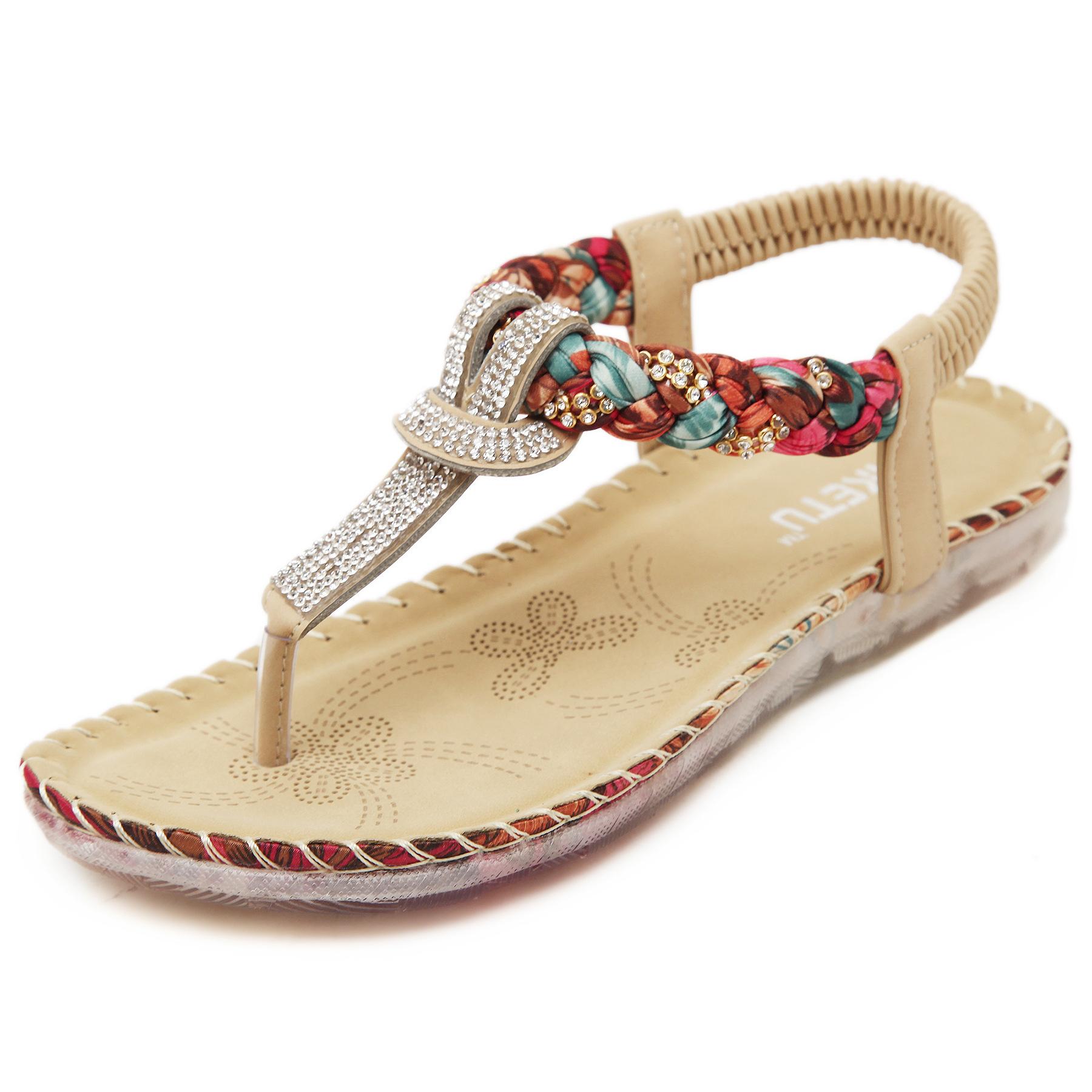 平跟罗马凉鞋 2021民族风平底夹趾凉鞋女夏波西米亚水钻串珠沙滩鞋平跟罗马女鞋_推荐淘宝好看的女平跟罗马凉鞋