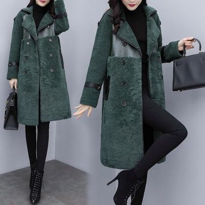 绿色皮草 2020新款女装冬季韩版绿色羊羔毛中长款外套女皮毛一体仿皮草大衣_推荐淘宝好看的绿色皮草