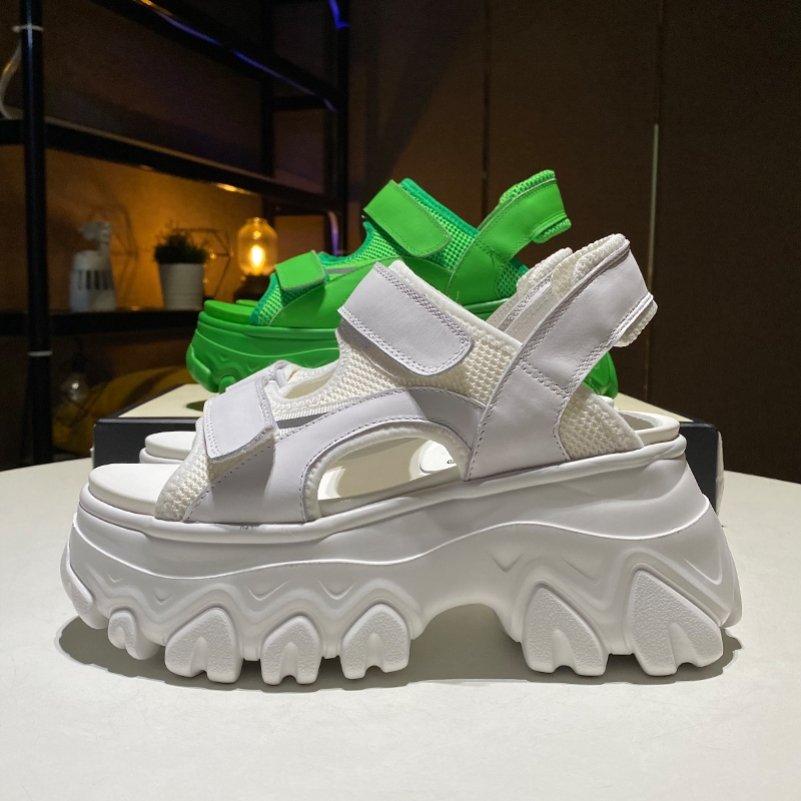 绿色松糕鞋 香港新款绿色厚底凉鞋女夏松糕百搭运动仙女风老爹罗马鞋ins潮牌_推荐淘宝好看的绿色松糕鞋